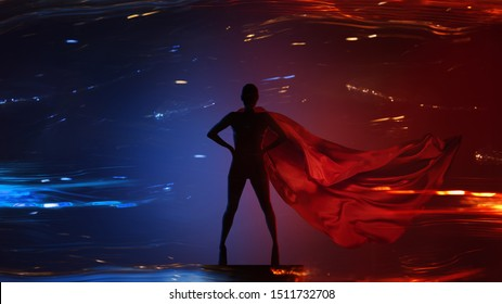 Abstract silhouette portrait of young hero woman with super person red cape guard night city