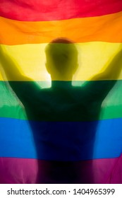 Abstract silhouette of a shadow holding a gay pride rainbow flag backlit by golden sun