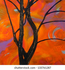 Abstract Silhouette of a Tree at Sunset Painting
