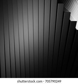 Abstract silver aluminium stripe dark metallic background. 3d render illustration