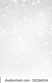 Abstract  Silver Christmas Background with white  lights. Festive   Falling Snow. Poster, Banner, Ad, Card or invitation.