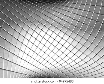 Abstract silver square pattern background with reflection 3d illustration
