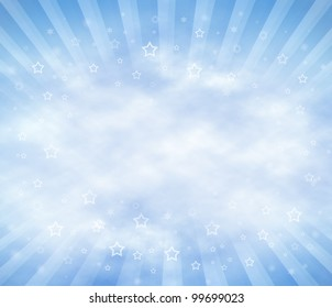 Abstract Sky Background with clouds and sun rays. Copy Space.