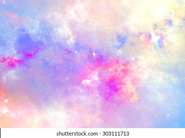 Abstract sky with color clouds. Fantasy soft pattern with lighting effect. Beautiful background for wallpaper, interior, album, flyer cover, poster. Fractal artwork for creative graphic design.