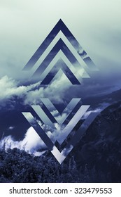 abstract sky geometric background with polygons, mountains and cumulus clouds, polygonal cloudscape backdrop, op art, altitude. reality is an illusion