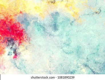 Abstract sky with shiny color clouds. Bright artistic splashes. Modern  painting texture. Watercolor background. Fractal artwork for creative graphic design