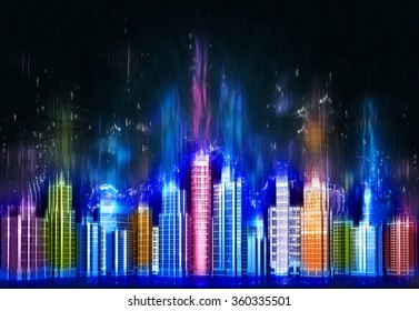 Abstract skyscrapers with a glowing lights
