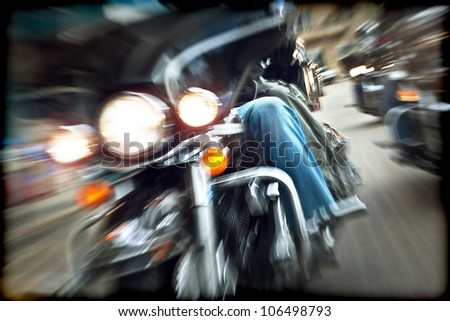 Abstract slow motion bikers
