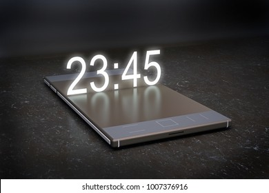 abstract smartphone with a hologram clock on dark background. 3d rendering