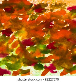 abstract smears watercolor background orange red green