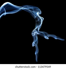 Abstract smoke beautiful shape woman isolated on black