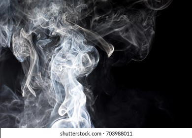 Abstract Smoke white on black background.
