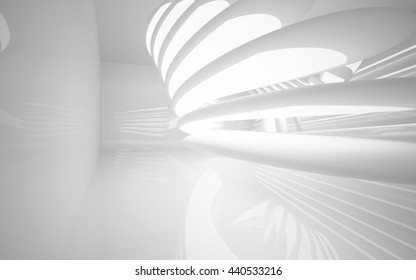 Abstract smooth white interior of the future. Night view from the backlight. Architectural background. 3D illustration. 3D rendering