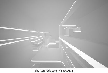 Abstract smooth white interior of the future. Night view from the backlight. Architectural background. 3D illustration and rendering