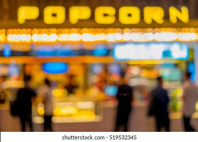 Abstract snack bar in front of movie cinema theater for people to buy some snack, food, popcorn and drink to eat in the theater.
