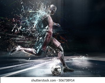 abstract soccer player; 3d illustration