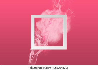 Abstract soft pink color paint smoke explosion with magenta background. Creative composition with copy space.