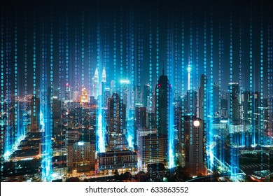 Abstract software developer programming binary computer code with modern city skyline .