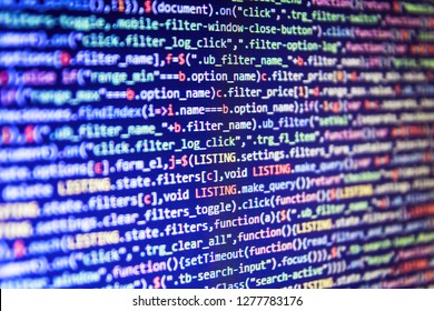 Abstract software process,  Programmer working on computer screen,  Source abstract algorithm concept,  Python binary code,  IT business,  HTML code on the screen editor, dark screen