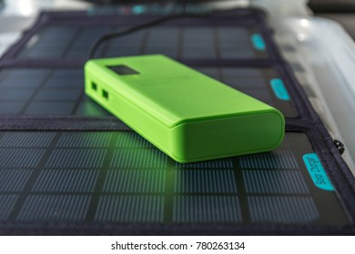 Abstract Solar Panel Home Usage Photovoltaic Eco-Friendly Green Energy Powerbank Copyspace Closeup Background