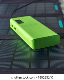 Abstract Solar Panel Home Usage Photovoltaic Eco-Friendly Green Energy Powerbank Copyspace Background