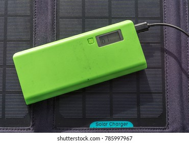 Abstract Solar Panel Home Usage Photovoltaic Eco-Friendly Green Energy Charging Powerbank Copyspace Background
