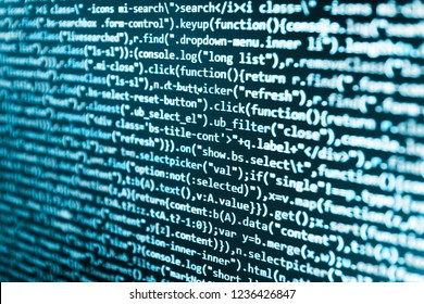 Abstract source code background. IT specialist workplace. Programming code typing. Programming of Internet website. Developer working on websites codes in office. Computer science lesson.
