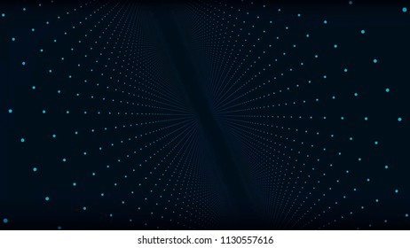 Abstract space background, geometry surfaces, lines and points. Abstract tunnel grid. Abstract Particles Background. Camera flying through the abstract spiral twisted particle background