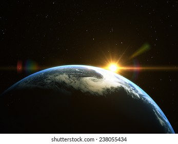 Abstract space sunrise. Elements of this image furnished by NASA