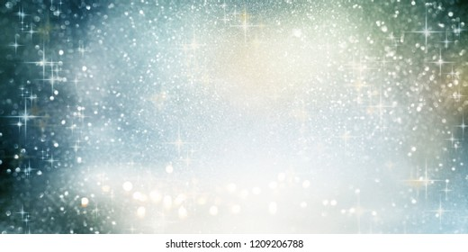 Abstract sparkling bokeh background with silver christmas stars