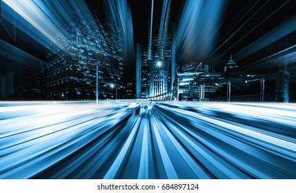Abstract speed light with city background in monochrome tone