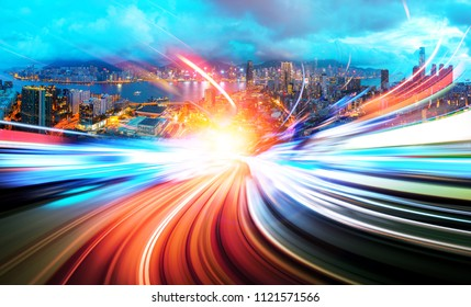 Abstract speed technology background with Hong Kong City scenes