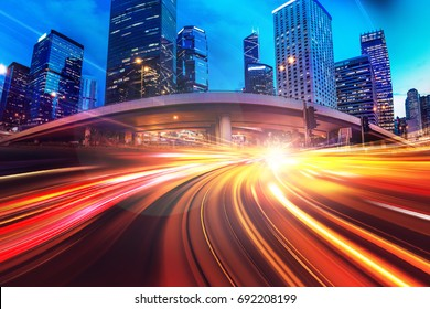Abstract speed technology background with Hong Kong City night scenes
