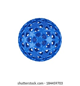 Abstract sphere, blue.