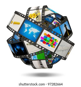 Abstract Sphere From Film Strip with Images isolated on white background