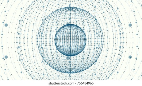 Abstract sphere of points and dots. background for your design