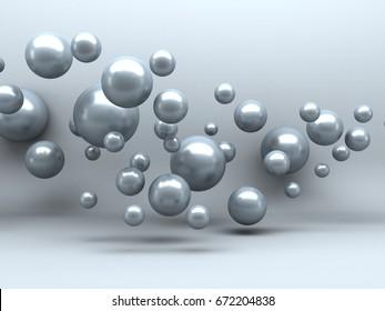 Abstract Spheres Soft White Light Background. 3d Render Illustration
