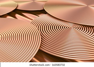 Abstract spiral copper pipes. 3d illustration