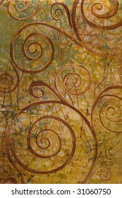 abstract spiral depicted on silk, art