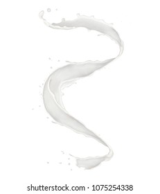 Abstract splash of milk isolated on white background. High resolution texture