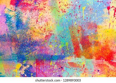 Abstract splatter color background, colorful paint drops ink splashes grunge card design.