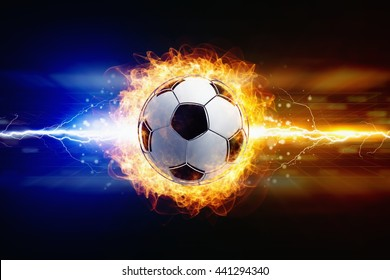 Abstract sports background - bright powerful lightnings strike burning soccer ball