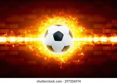 Abstract sports background - burning soccer ball in fire