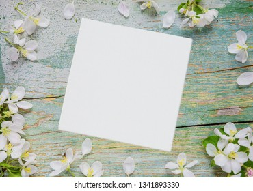 Abstract spring background of old painted blue board with frame of white apple flowers and white square blank paper sheet or canvas with place for text