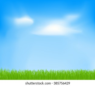 Abstract spring background with sky, clouds, green grass. template for Your design