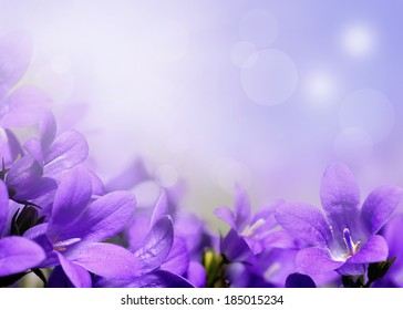 Abstract spring border or background with purple flowers