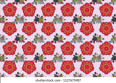 Abstract spring decorative roses seamless pattern in orange and red colors. Raster rose icon.