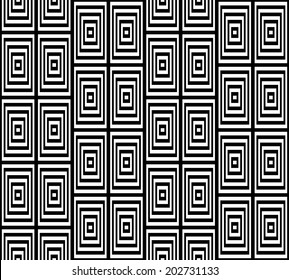Abstract Square Bases Black and White Seamless Pattern Illustration. Motion Illusion Appear.