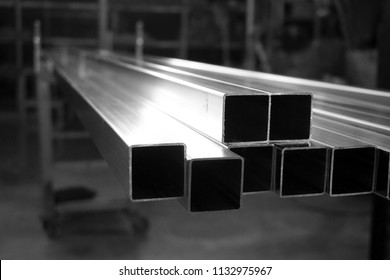abstract of square metal tube for background used