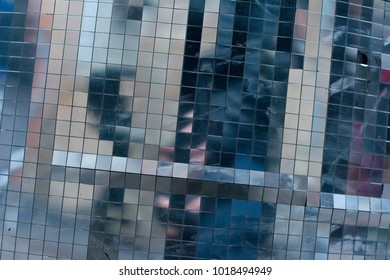abstract square pixel mosaic silver mirror background